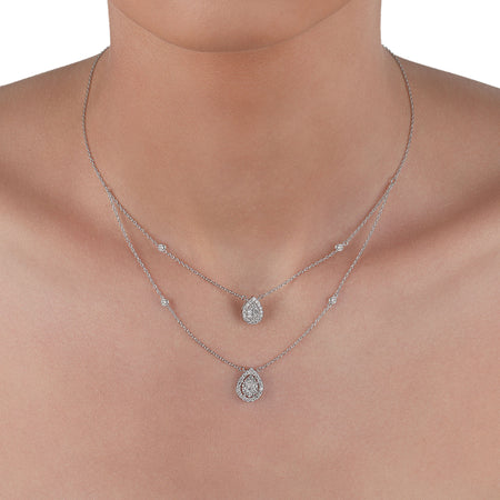 Double Layer Pear Diamond Necklace