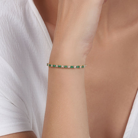 Emeralds & Princess Cut  Diamond Cuff