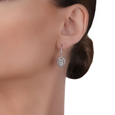Illusion Oval Drop Diamond Earrings