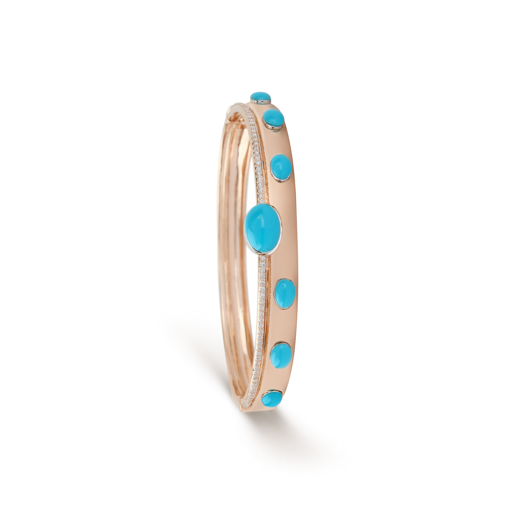 Turquoise & Diamond Rose Gold Cuff Bracelet