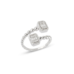 White Gold Baguettes Illusion Diamond Ring