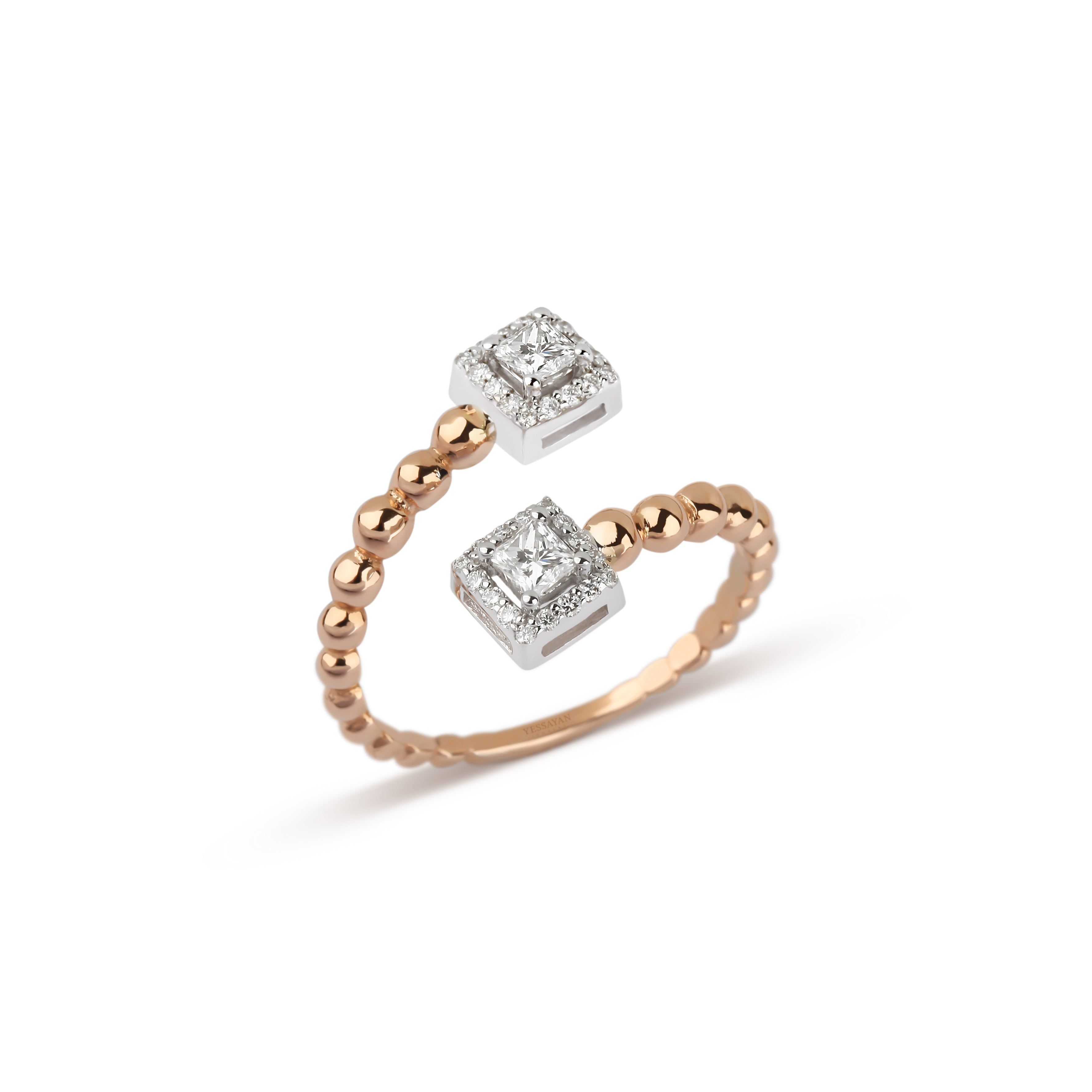 Rose Gold Double Princess Cut Diamond Ring