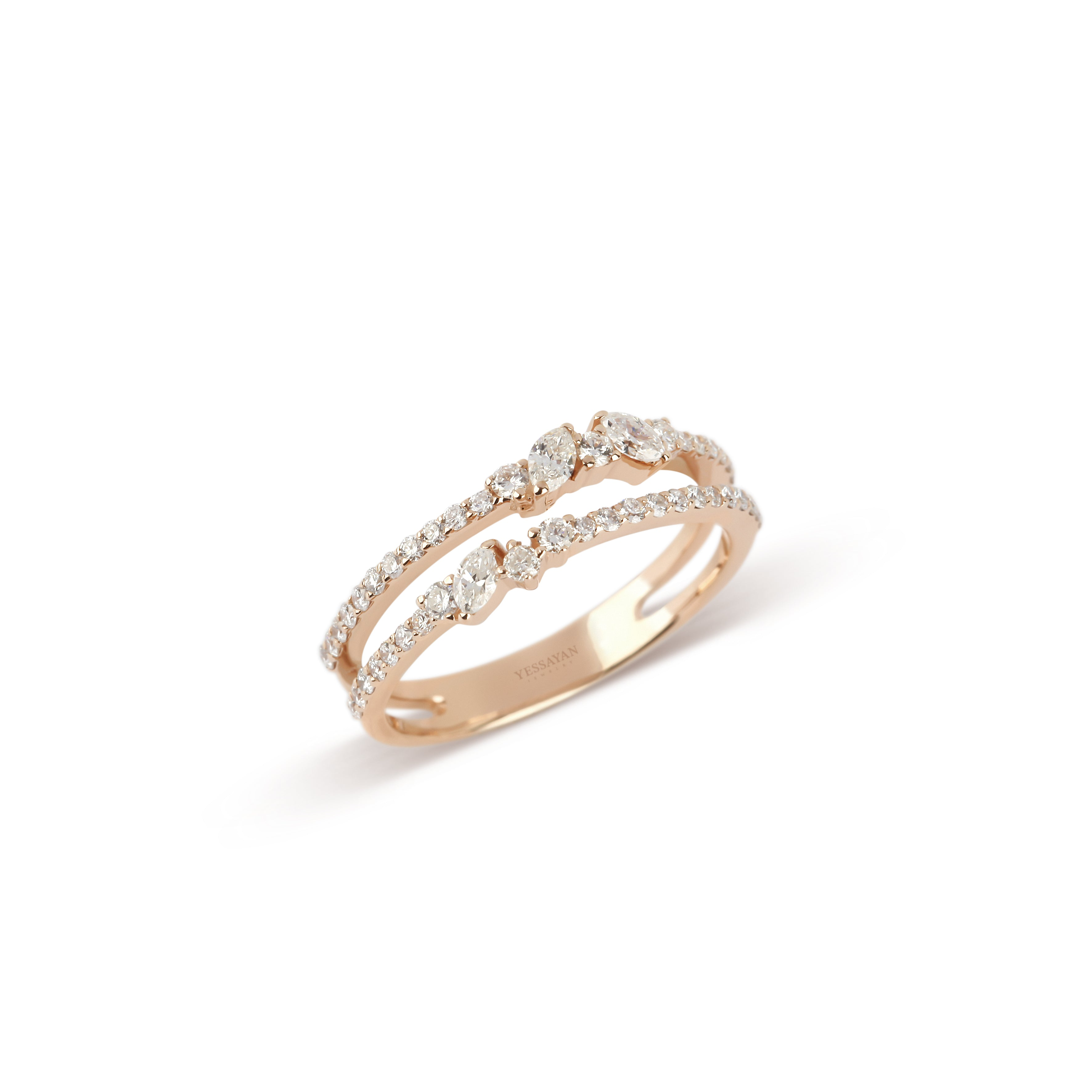 Double Band Rose Gold Marquise & Round Diamond Ring