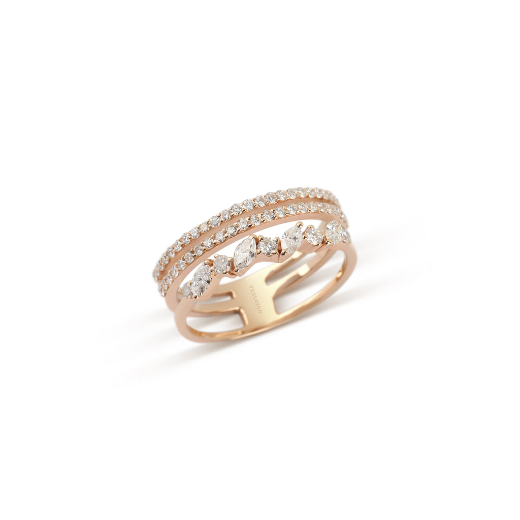Rose Gold Marquise & Round Diamond Ring