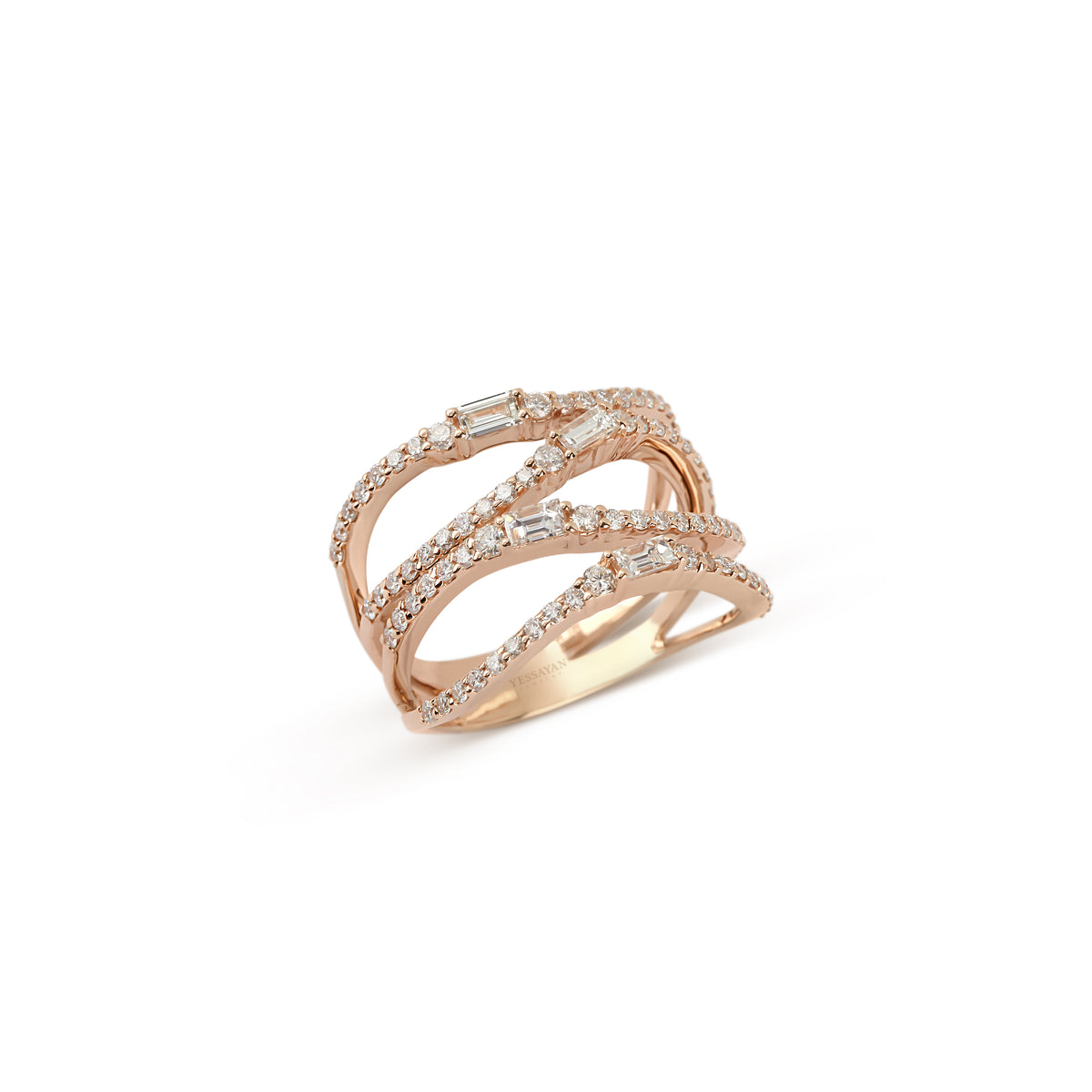 Rose Gold Baguette & Round Diamond Ring