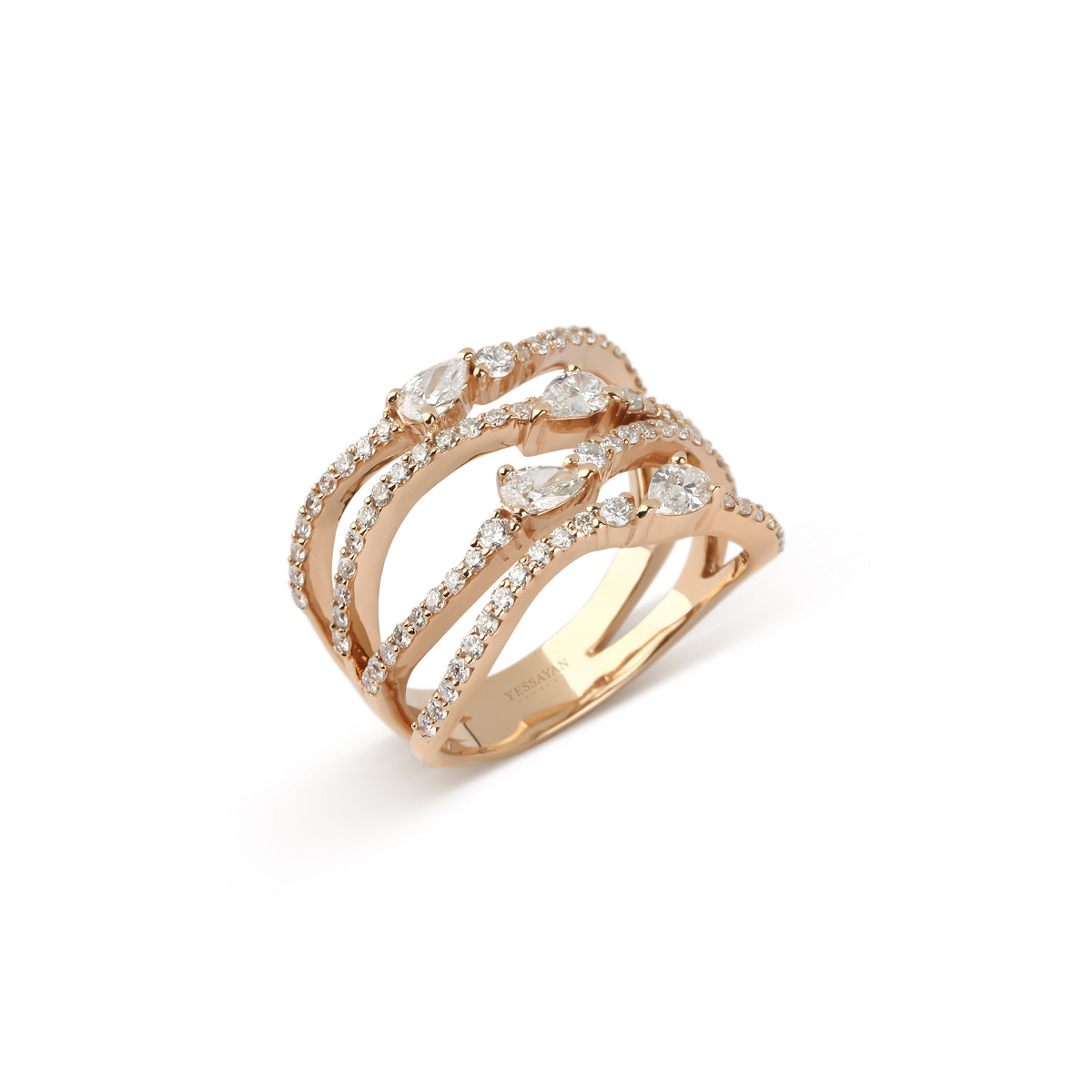 Rose Gold Pear & Round Diamond Ring
