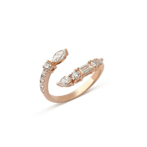 Rose Gold Mixed Cut Diamond Ring