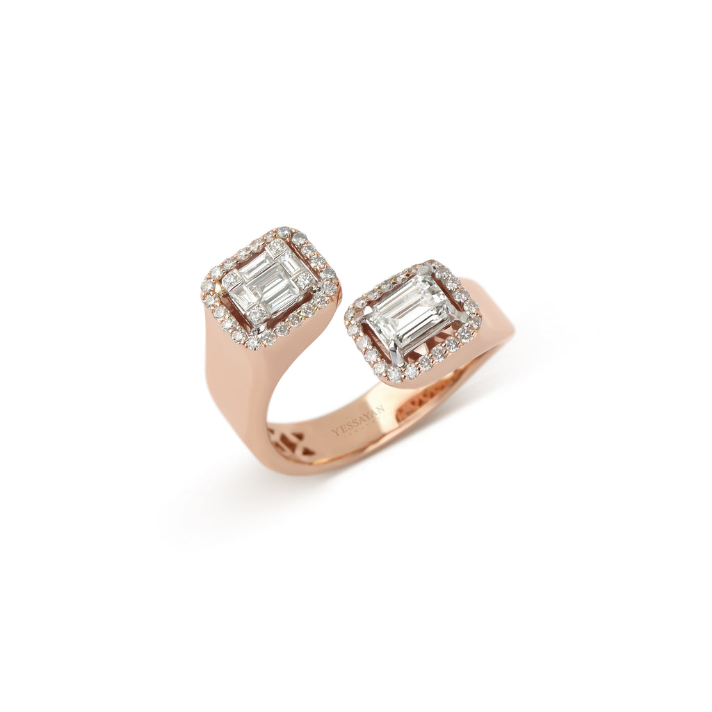 Rose Gold Baguettes Illusion Diamond Ring