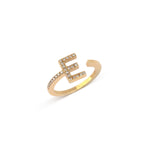 Yellow Gold Letter E Diamond Ring