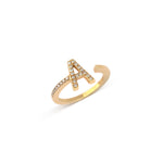 Yellow Gold Letter A Diamond Ring