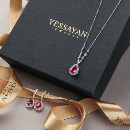 Ruby & Diamonds White Gold Necklace