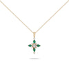 Crossed Emeralds & Diamonds Necklace
