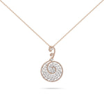 Rose Gold Spiral Diamond Necklace