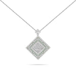 "Engraved ""Allah"" White Gold Diamond with MOP Necklace"