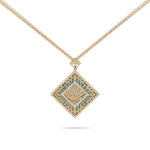 "Engraved ""Allah"" Yellow Gold Diamond with Turquoise Necklace"