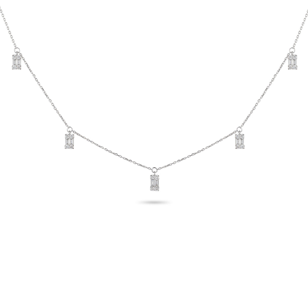 Drop Baguette Diamond Charm Necklace
