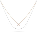 Two-Tone Double Chain Floral Diamond Necklace