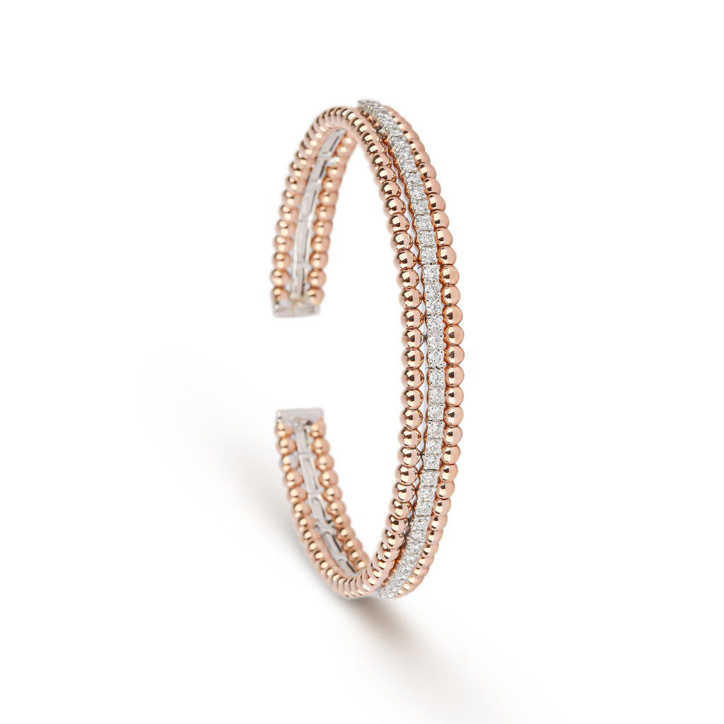 Triple Layer Rose Gold & Diamond Cuff