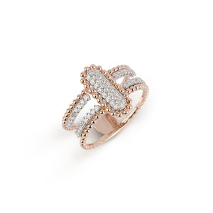 Double Layer Rose Gold & Diamond Ring