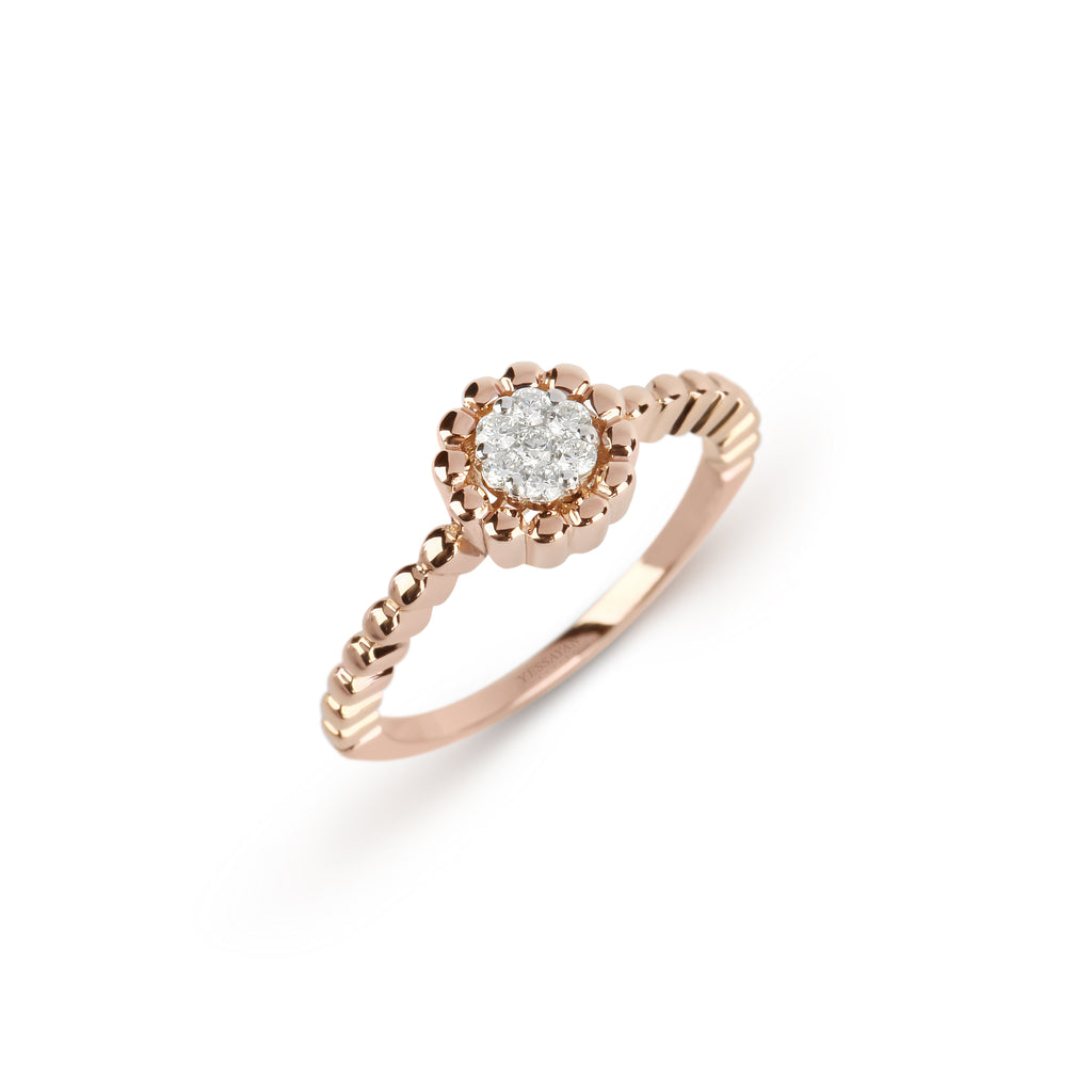 Rose Gold Flower Diamond Ring