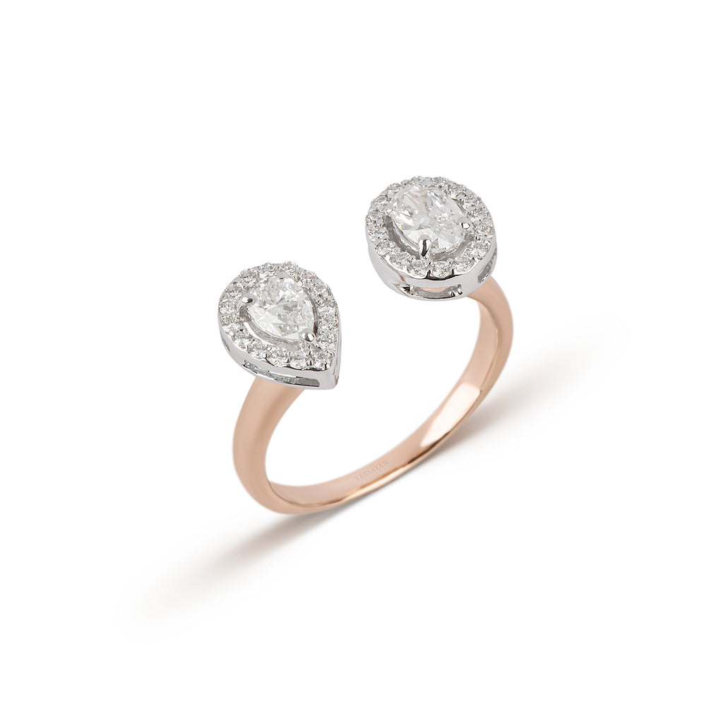 Two-Tone Split Diamond Ring