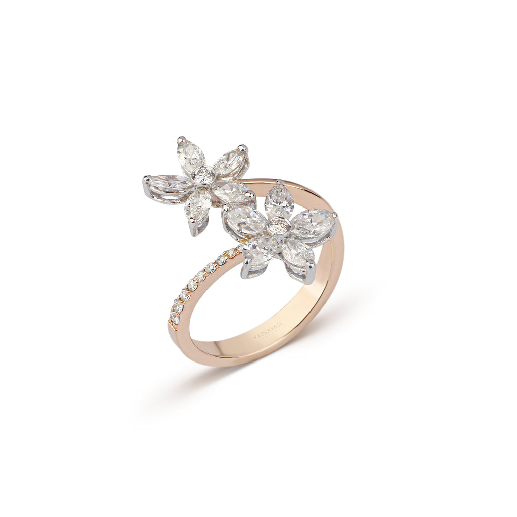 Floral Open Band Diamond Ring