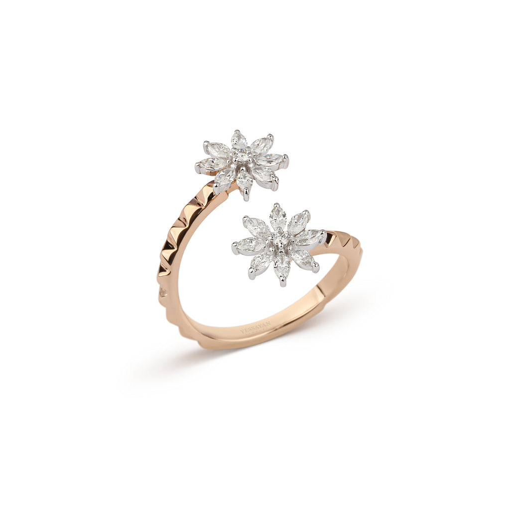 Floral Diamond Studded Ring