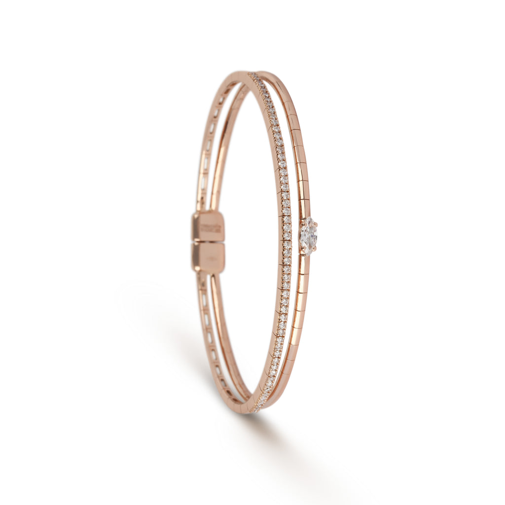 Rose Gold Double Band Diamond Cuff