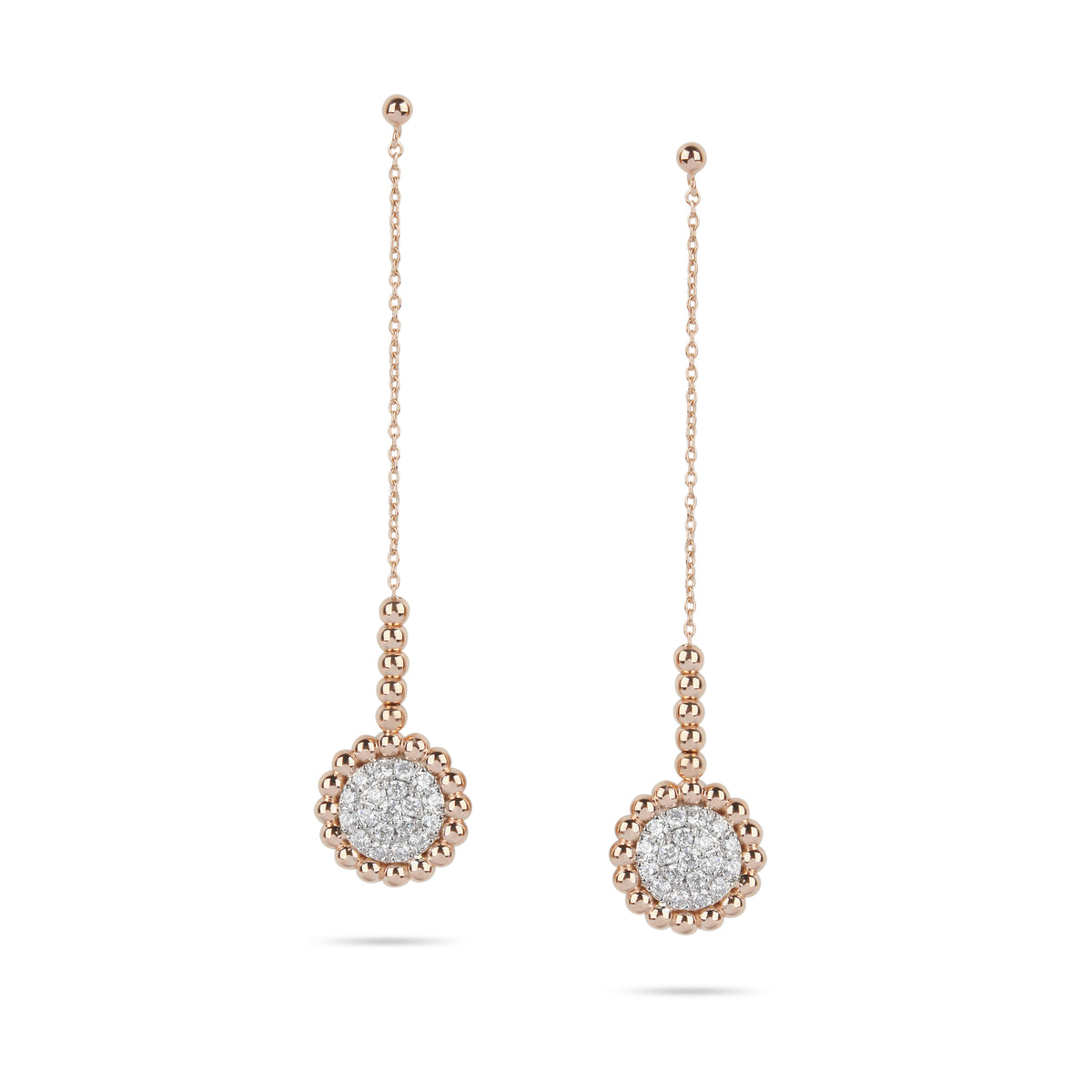 Rose Gold Beaded & Diamond Drop Earrings