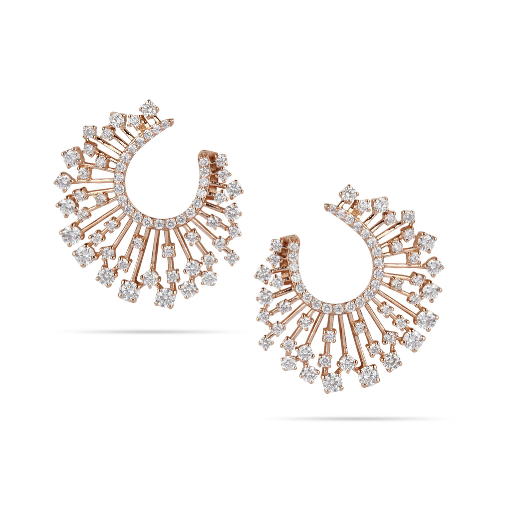 Rays Hoop Diamond Earrings