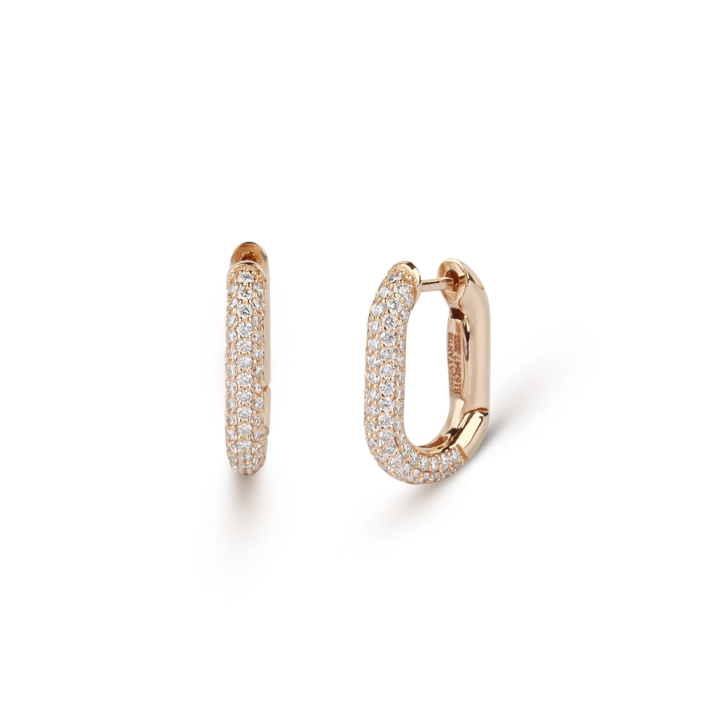 Square Huggie Diamond Earrings