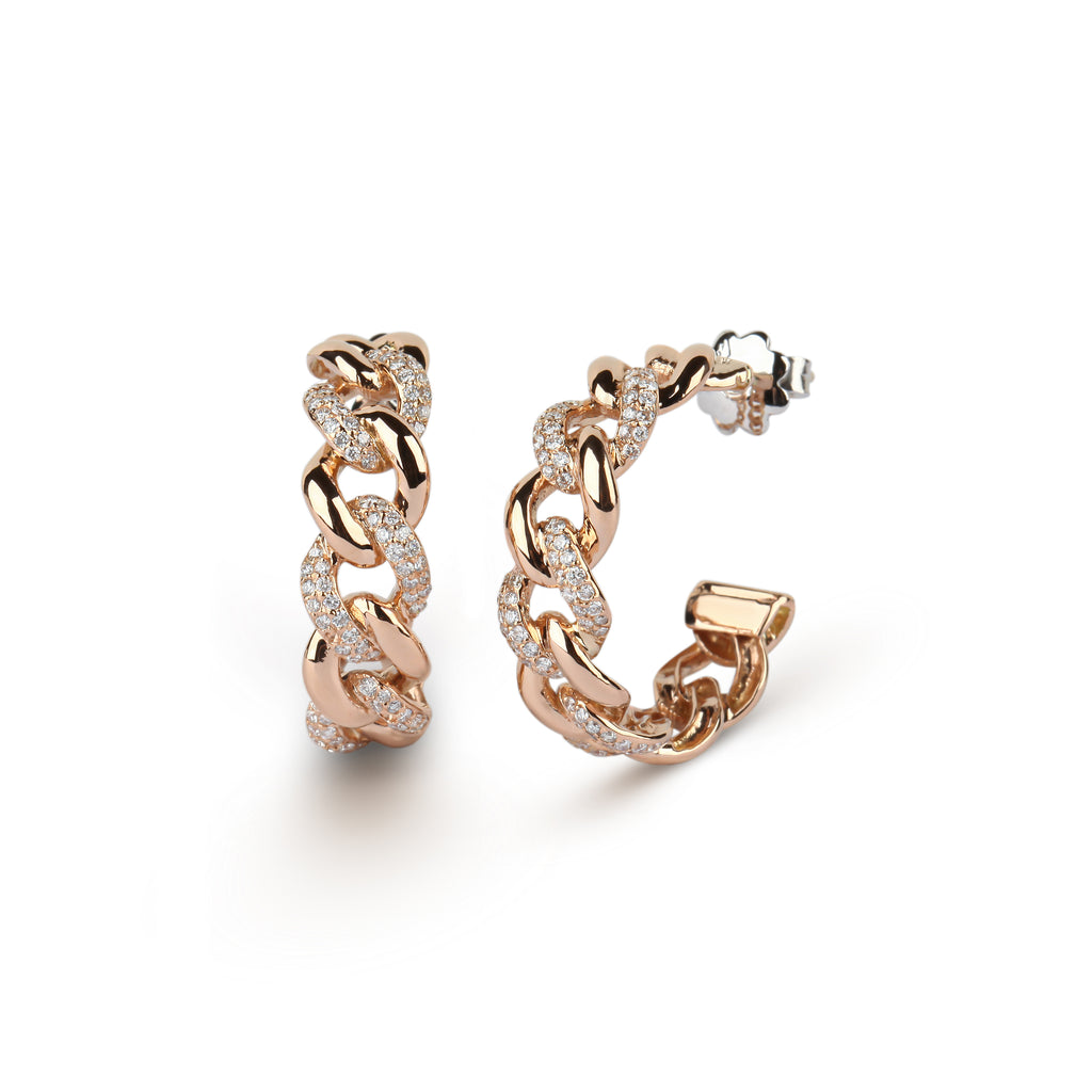 Cuban Link Chain Hoop Earrings