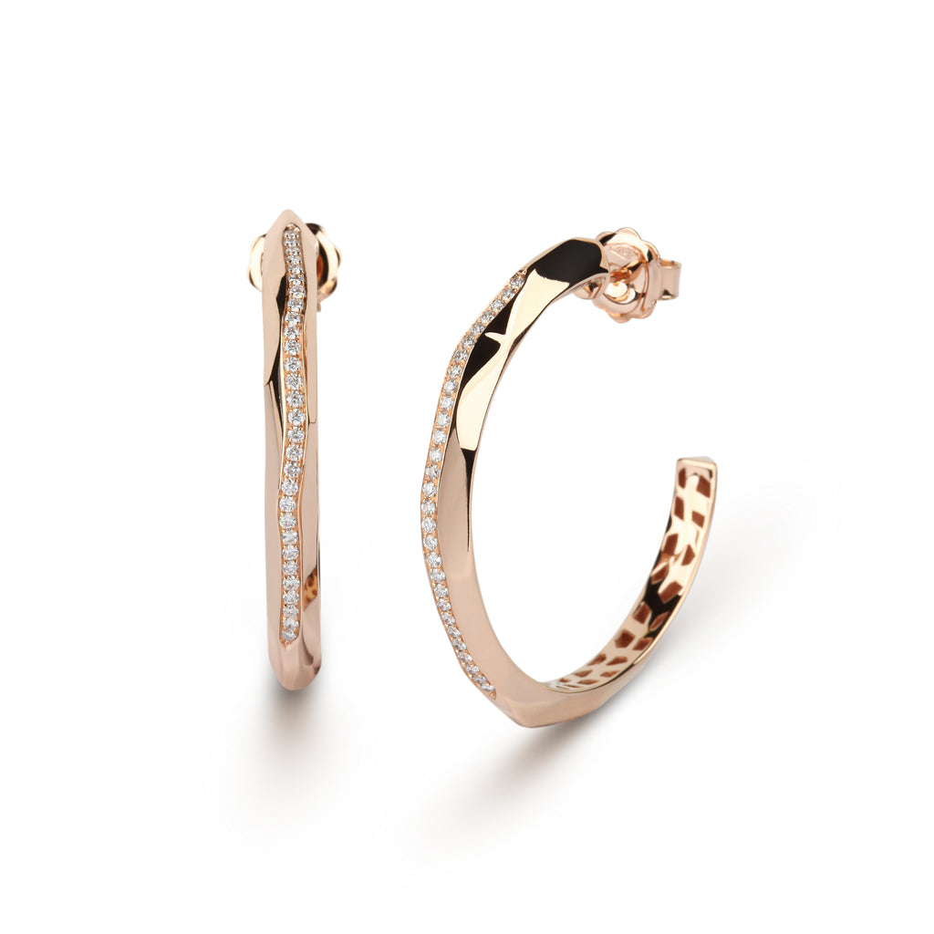 Diamond Linear Rose Gold Hoop Earrings
