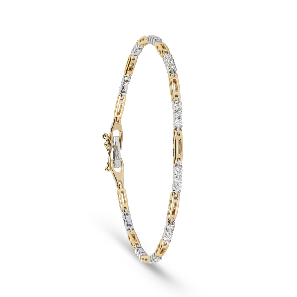 Gold Link & Diamond Tennis Bracelet
