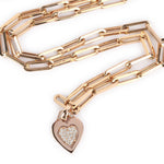 Long Chain Necklace With Diamond Heart Charm