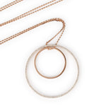 Long Dangling Circle Pendants Diamond Necklace