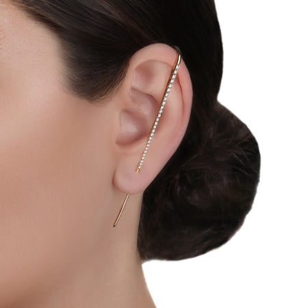 Long Thin Bar Ear Cuff Earrings