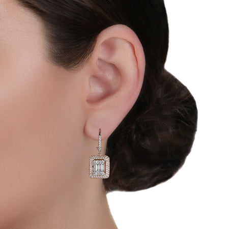 Two-Tone & Illusion Diamond Drop Earrings
