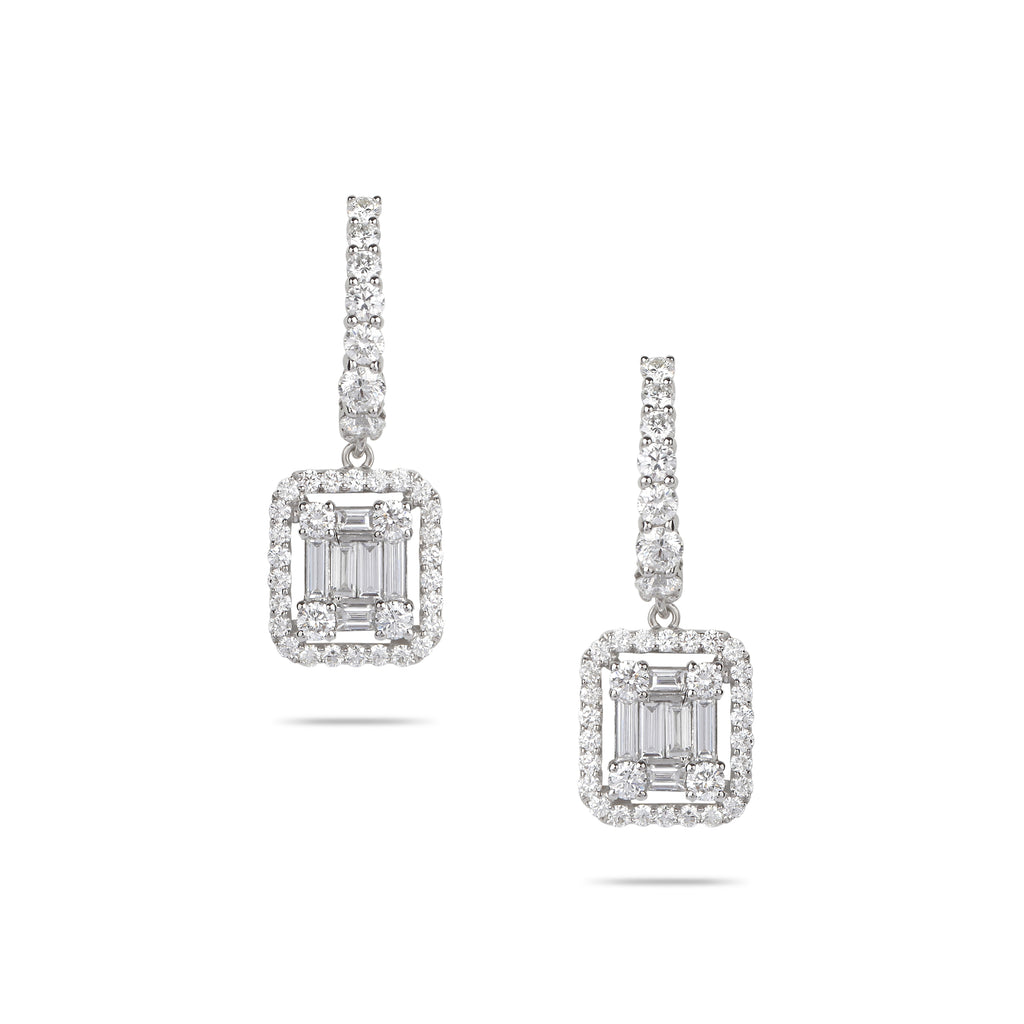 Diamond Baguette Drop Earrings