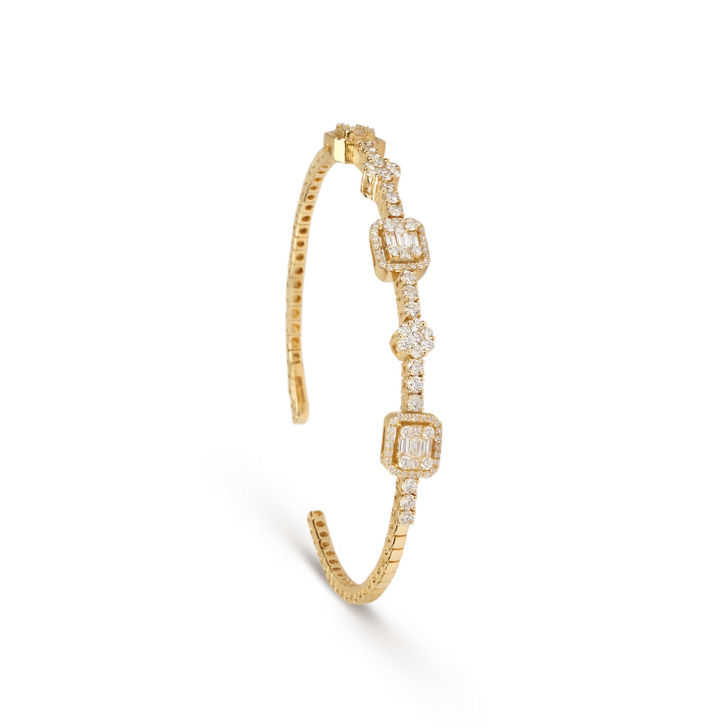 Illusion Diamond & Yellow Gold Cuff