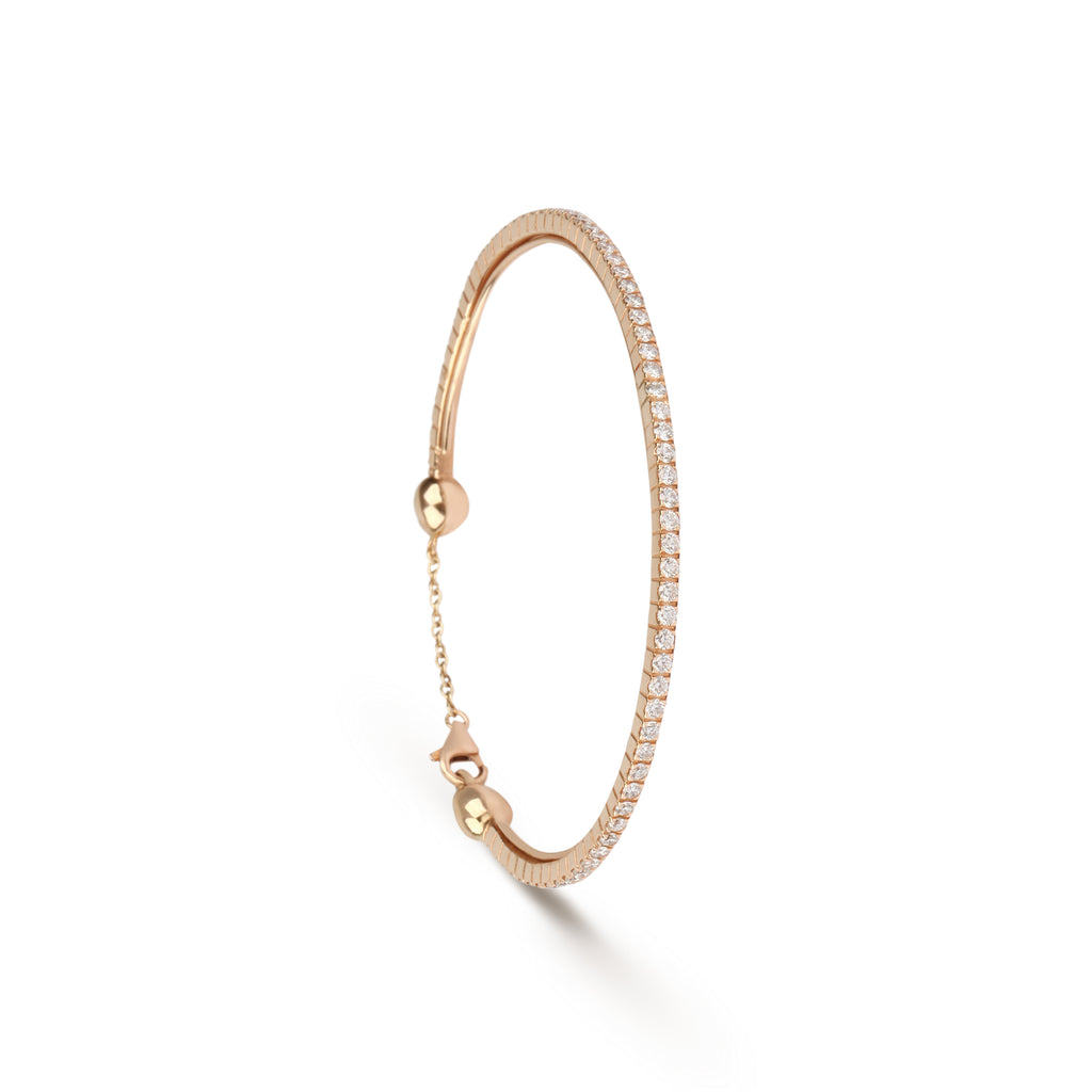 Classic Diamond Rose Gold Bangle Bracelet