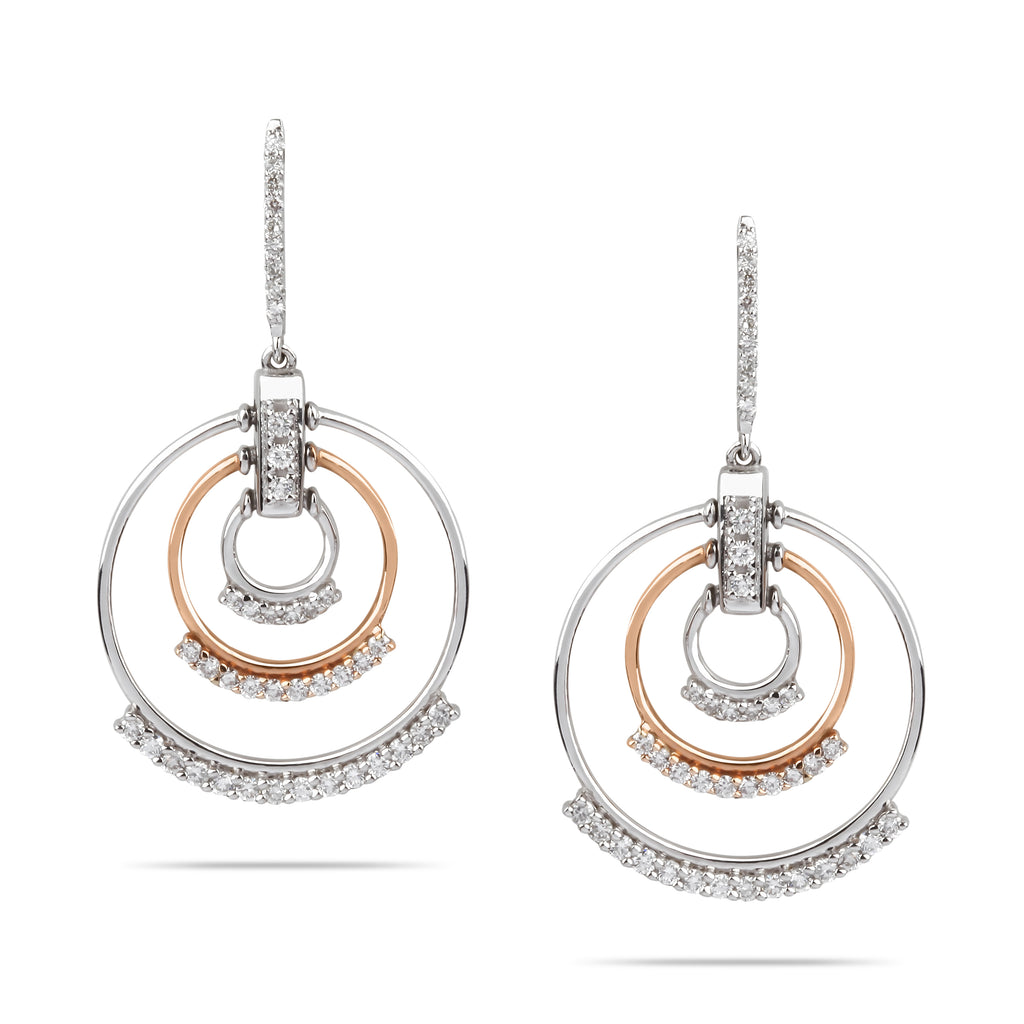 Drop Hoop Diamond Earrings