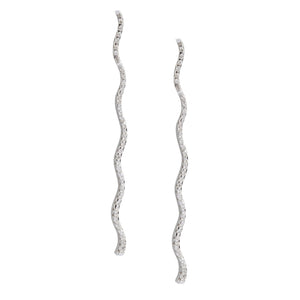 Wavy Drop Diamond Earrings