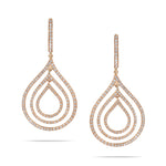 Pear Drop Rose Gold Diamond Earrings
