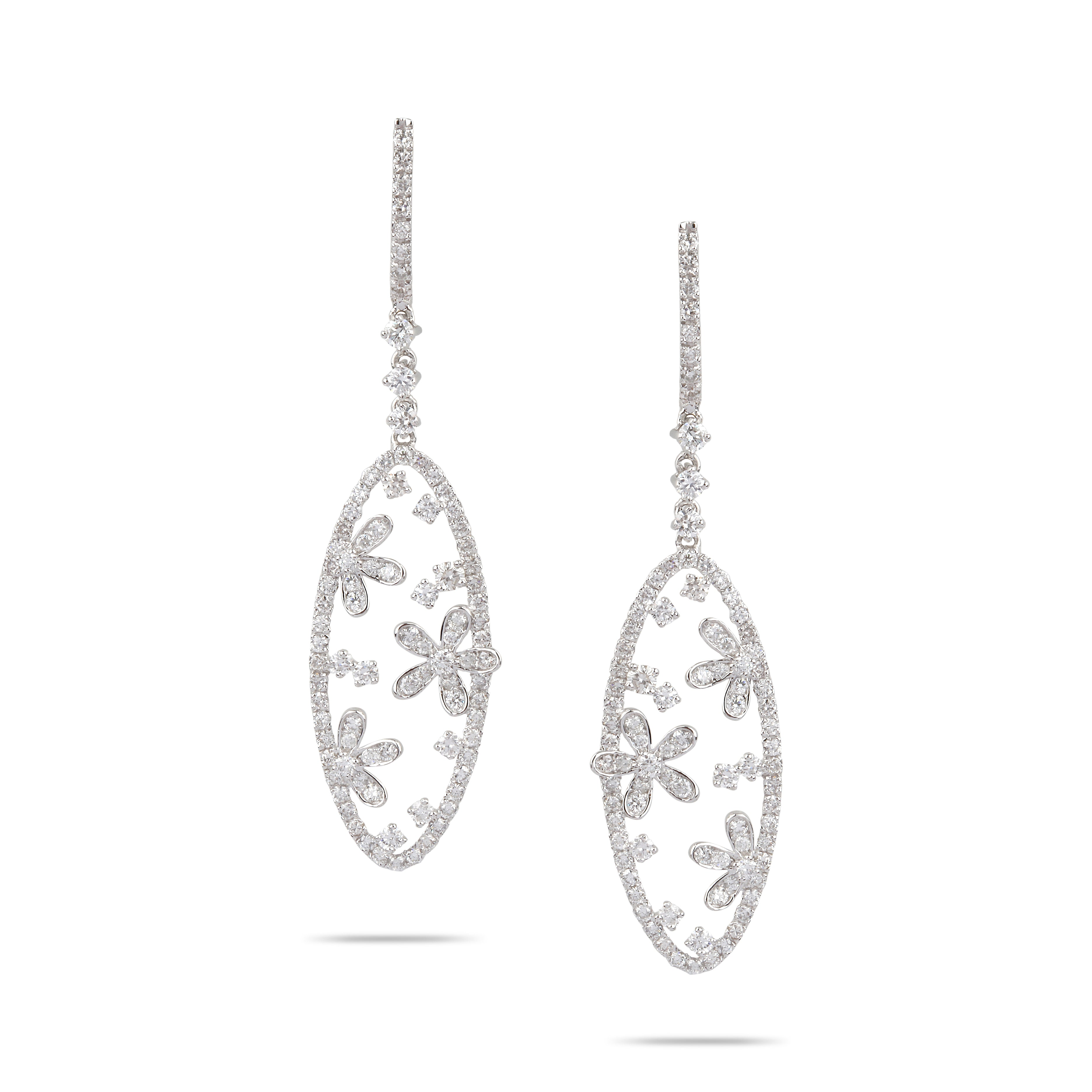 Flower Diamond Drop Earrings