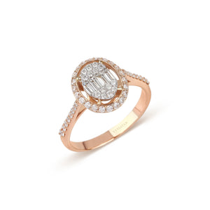 Illusion Baguette Diamond & Rose Gold Ring