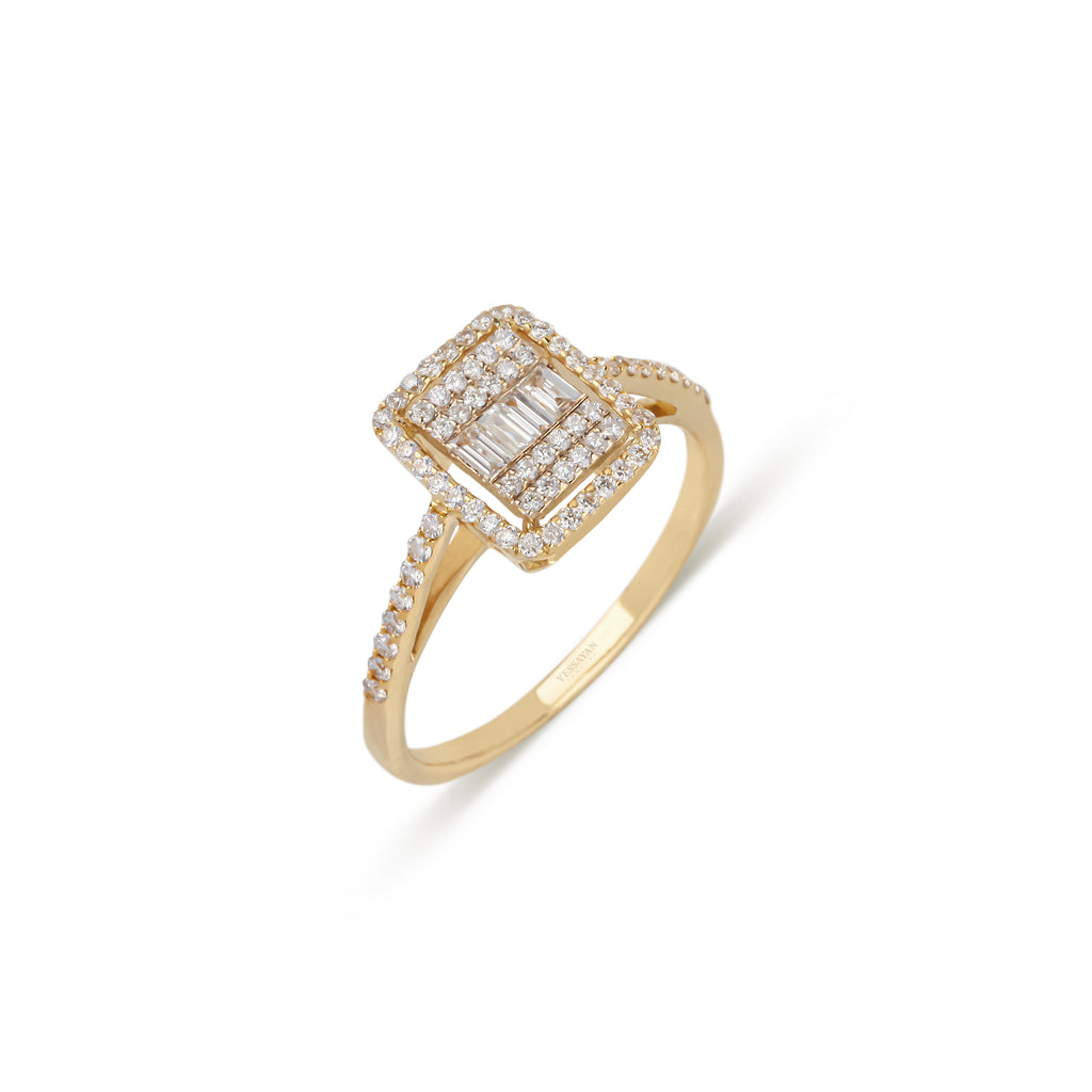 Baguettes & Round Diamonds Yellow Gold Ring