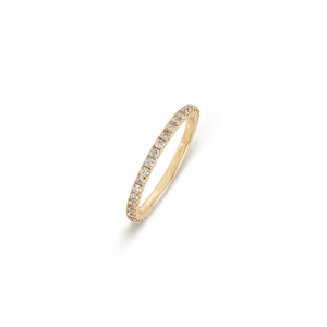Midi Thin Ring Yellow Gold Diamonds Band Ring