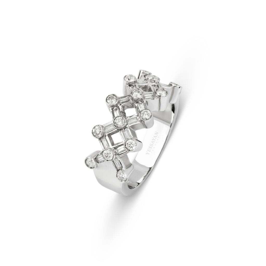 Cross Shaped Baguettes & Round Diamonds Ring