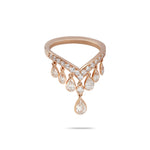 Pear Drops & Rose Gold Diamond Ring